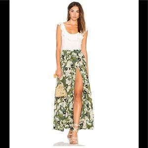 Free People Hot Tropics maxi in moss skirt